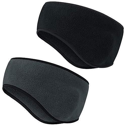 AgoKud Winter Sport Stirnband Ohrenwärmer Dehnbar für Damen und Herren, 2pcs Ohrenwärmer Stirnbänder Ohrenschützer Warm Headband für Joggen Laufen Wandern Radfahren und Motorradfahren (Schwarz+Grau)