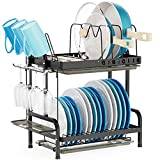 Dish Drying Rack with Pot Holder - Stainless Steel Rustproof 2 Tier Dish Rack with Adjustable Pot Lid organizer, Silverware Tray Glass Holder for Kitchen Counter, Black