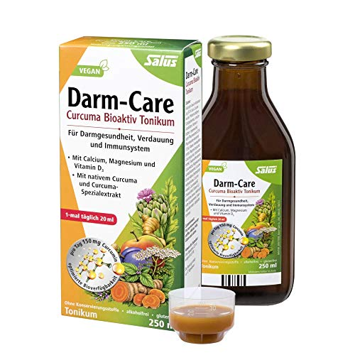 Salus Darm-Care Curcuma Bioaktiv Tonikum – für Darmgesundheit, Verdauung und Immunsystem – mit Magnesium, Calcium und Vitamin D3 – vegan – 250 ml