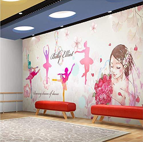Ponana Benutzerdefinierte Fototapete Nagelkosmetik Schönheitssalon Studio Wandmalerei 3D Menschen Mädchen Aquarell Tanzmusik Zimmer Tapete A-400X280Cm