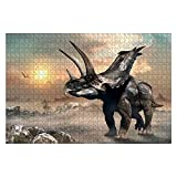 """Jigsaw Puzzle Agujaceratops Scene 3D Illustration for Adults Kids Wood Puzzle Game Educational Family Game Toys Gift, Challenge Art Gift - 20""""x30""""(1000 Pieces)"""