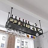 WYFZT Botelleros de Stemware de Techo Soportes para Copas Sostenedor del Vidrio de Vino cubilete Colgando Estante de Vino de Metal Bar Escritorio gabinetes/armarios - Negro (Size : 140x25x21cm)