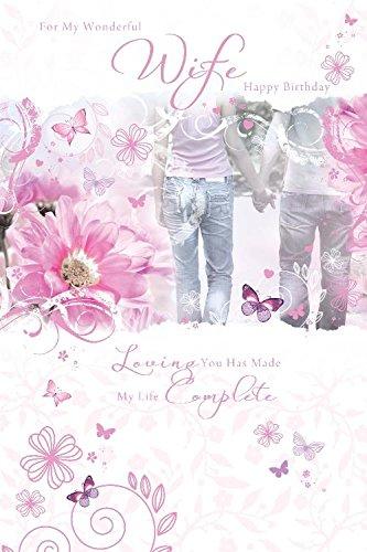 Voor Mijn Prachtige Vrouw Bloem Paar Houding Handen Ontwerp Gelukkig Verjaardagskaart