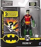 dc comics Batman, 4-Inch Robin Action Figure with 3 Mystery Accessories, Mission 2 acción Pulgadas con 3 Accesorios misteriosos, Misión 2, Color Gris (Spin Master 6056746)