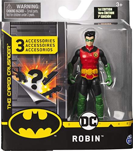 DC Comics Batman 10cm-Actionfigur mit Missionskarte und 3 geheimen Ausrüstungsteilen - Robin