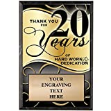Corporate Plaques - 5 x 7 Thank You for 20 Years Recognition Trophy Plaque Award Prime