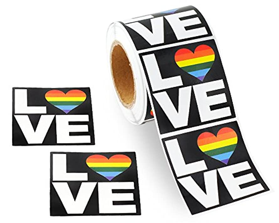 250 Square Love Gay Pride Rainbow Stickers on a Roll - Square Love (250 Stickers) - Support LGBT Causes