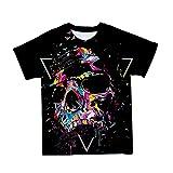 Astemdhj Camiseta de Manga Corta Camisa 3D Camisetas 3D para Hombre Nuevo Clown Skull Rose Theme Punk Graphic Hombre Camiseta De Manga Corta Cuello Redondo Ropa De Gran Tamaño De Moda 110-6