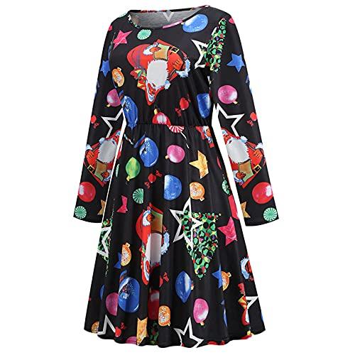 Dubras Women's Christmas Print Dress Classic Fit Long-Sleeve Pleated Skirt Vintage Casual Elegant Dresses Party Short Dress Black
