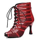 SWDZM Zapatos de Baile Latino Mujer Salsa Tacon Alto de Salon Peep Toe Tango de Baile Botasde Baile de Salon,Rojo-7.5cm,Modello-L447, 36EU