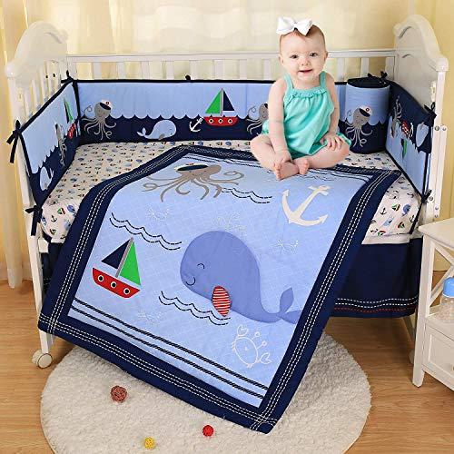 USTIDE Bettwäsche-Set für Kinderbett, Motiv: Blauwal, 7-teilig