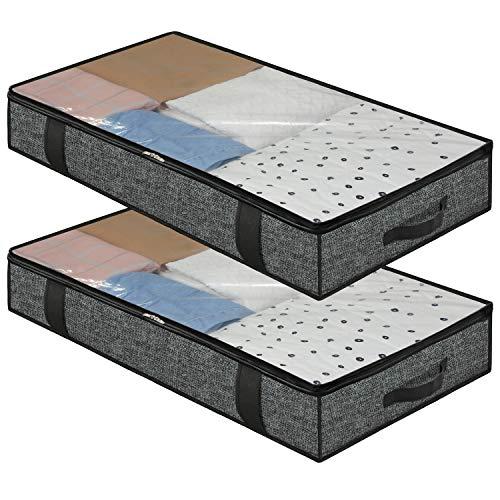 homyfort Juego de 2 Bolsa de Almacenamiento - para edredones Ropa Debajo de la Cama Bolsa de Almacenamiento con Cremallera y 4 Asas, Plegable, 100 x 50 x 15 cm, Negro Lino, DEXAUBBP2