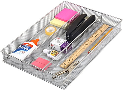 YBM Home Metal Silverware Organizer for In-Drawer Cutlery Storage, 3 Compartment Mesh Cutlery Flatware Tray Sorts Kitchen Utensils, Great for Office Supplies 1150s