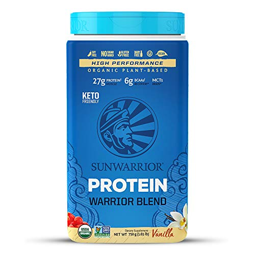 Sunwarrior - Warrior Blend, Plant Based, Raw Vegan Protein Powder with Peas & Hemp, Vanilla, 30 Servings, 26.4 Ounce