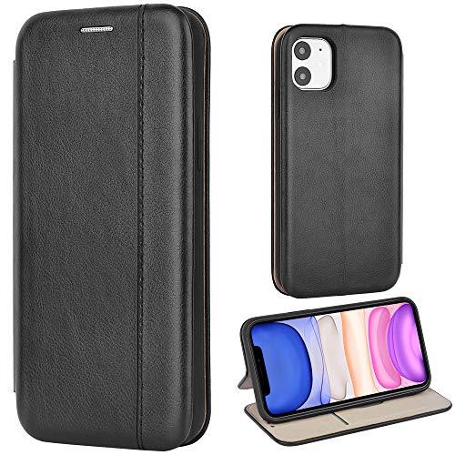 Leaum Leder Handyhülle für iPhone 11 Hülle, Premium Handytasche Flip Schutzhülle für Apple iPhone 11 Tasche (Schwarz)