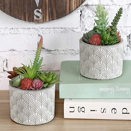 MyGift 4 Inch Gray Concrete Flower Plant Pots, Modern Cylinder Planters with Art Deco Style Embossed Fan Leaf Pattern, Set of 2
