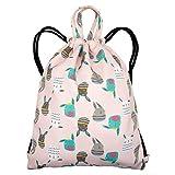 Ruberg Drawstring Bag Kids Zaino impermeabile String Borse sportive Ragazza Borse da palestra Sacco per bambini leggero Borsa PE con tasca interna con cerniera Borsa da nuoto per ragazzo Coniglio rosa
