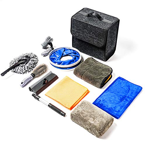 OKAYC 10 Pcs Car Wash Kit for Interior and Exterior Cleaning Including Microfiber Cloths Sponge Duster Tire Brush Window Water Squeegee Foldable Bucket Storage Box