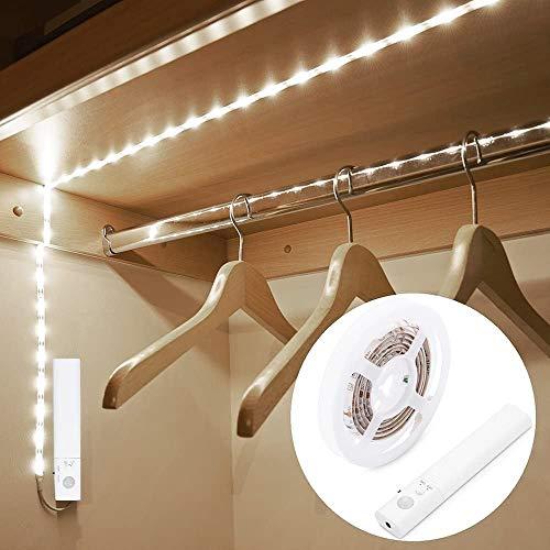 OriFiil Bewegungsmelder-Licht, 1,5 m LED-Lichtstreifen, Nachtlicht, 6000 K kaltweiß, automatisches Ein-/Ausschalten, batteriebetrieben für Schrank, Küche, Treppen, Unterbettbeleuchtung