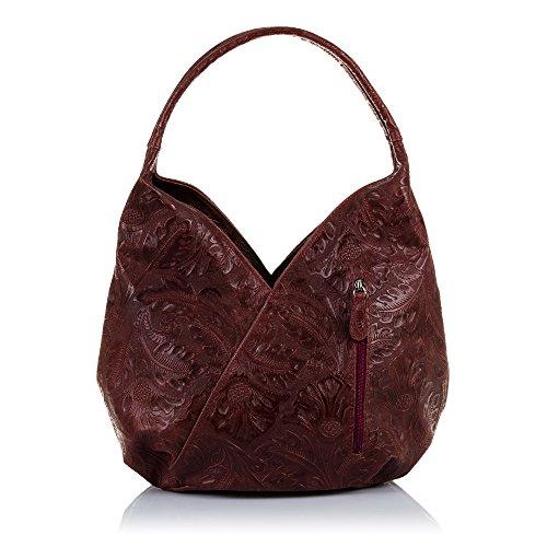 FIRENZE ARTEGIANI Handtasche aus echtem Leder mit Blumengravur Umhängetasche Boho Damen Umhängetasche Made in Italy. Vera Pelle Italiana 30x23 5x13 cm. Farbe: Granat