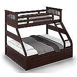 BL Wood Sheesham Wood Double Size Bunk Bed with Storage for Bedroom | Dark Brown folding slides Nov, 2020