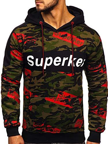 BOLF Herren Kapuzenpullover Sweatshirt Print Kapuze Hoodie Aufdruck Street Style J.Style 11036 Grün M [1A1]