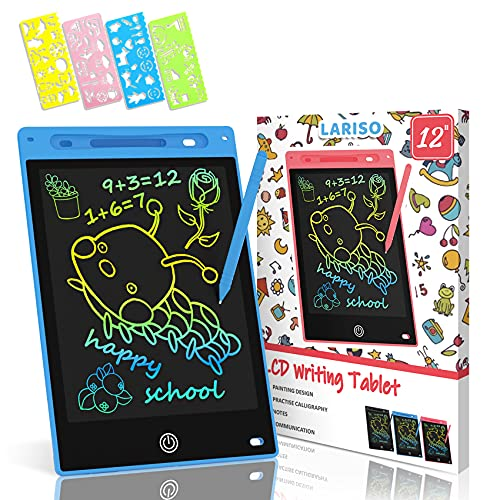 LARISO LCD Writing Tablet Tablet Doodle Board,12inch Colorful Drawing Tablet Writing Pad,Erasable Reusable Electronic Drawing Pads,Electronic Digital Drawing Board for Adults and Kids Ages 3+(Blue)