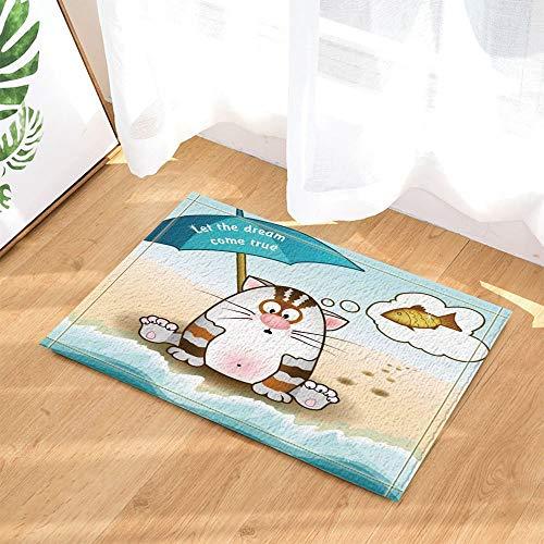 JYEJYRTEJ Katze am Strand Shanghai Aquarium rutschfeste Matte, innentür Matte, kinderbad Matte, 50 * 80 cm, wohnkultur