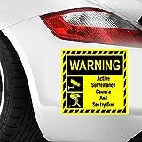 12.2Cmx9.3Cm Etiquetas engomadas del coche Cámara de vigilancia activa y pistola de centinela Etiqueta engomada del coche Vinilo divertido Vinilo