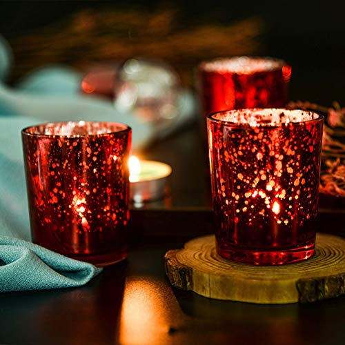 Supreme Lights Glas Teelichthalter 12er Set, 5.2x6.2cm, Gefleckter Teelichtgläser Geschenk Kerzenhalter Deko für Geburtstag, Party, Hochzeit, Feier, Haushalt, Gastronomie(Rot)
