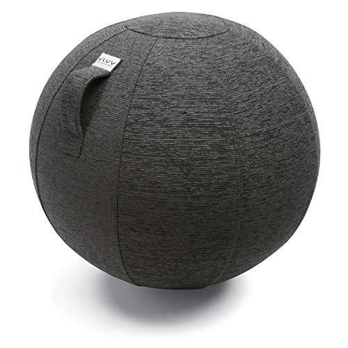 VLUV STOV Stoff-Sitzball, ergonomisches Sitzmöbel für Kinder und Erwachsene, Farbe: Anthrazit (dunkelgrau), Ø 50cm - 55cm, hochwertiger Möbelbezugsstoff, robust und formstabil, mit Tragegriff