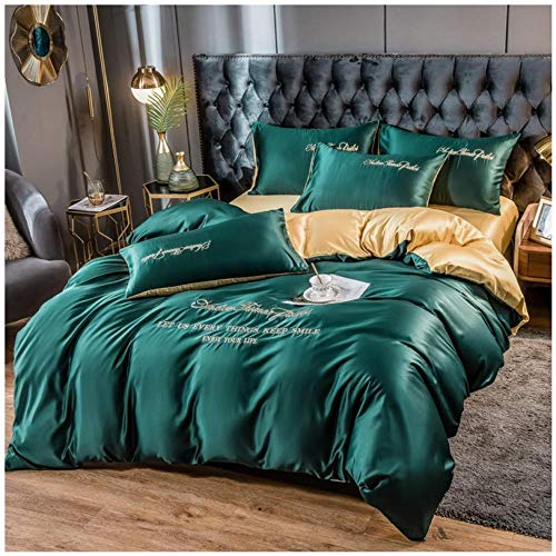 Bedding-LZ boys double bed duvet cover-Spring and summer embroidery bed supplies water washing simulation silk four-piece set of solid color bed sheets down descendants-B_1.8 m bed (4 pieces)