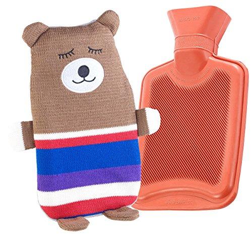 infactory Wärmflasche Kuscheltier: Kinder-Wärmflasche mit Teddybär-Bezug, 1 Liter (Gummi-Wärmflasche)