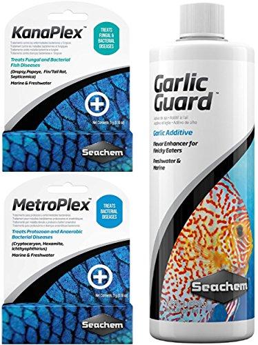 Ultimate Seachem Aquarium Treatment Bundle Pack - Metroplex, Kanaplex, Garlic Guard