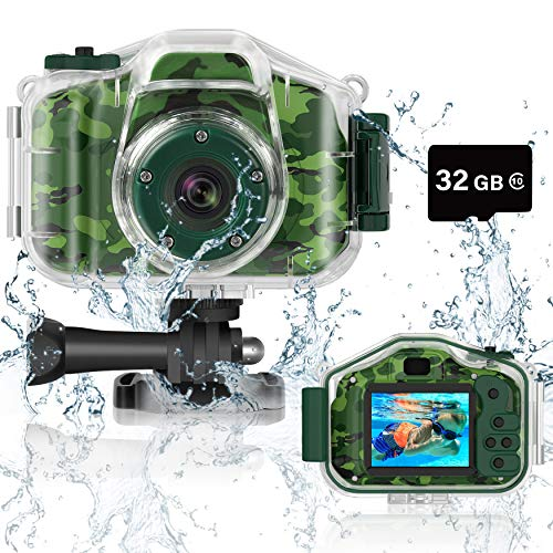 DEKER Kids Camera Underwater Waterproof Camera for Best Christmas Birthday Gifts for Boys Girls Age 3-12 HD Digital Video Camera Mini Children Camcorder Camera 2 Inch IPS Screen with 32GB Card (Green)