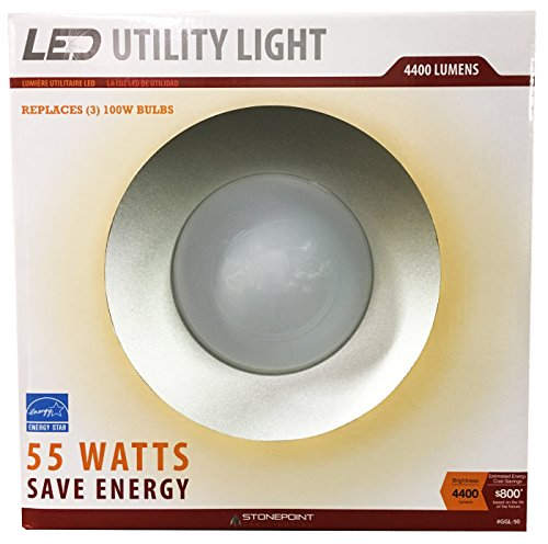 StonePoint LED Lighting Utility Light Energy Efficient Bright Daylight Bulb with Shroud Fits Standard Edison Base 4000K and 4400 Lumens for Shop Light, Garage Light, Workshop