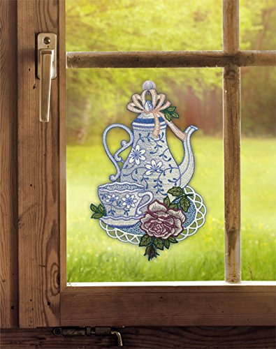 Fensterdekoration von ars-vivendi Fensterbild Kaffeezeit (BxH) 21 x 31 cm echte Plauener Spitze inkl. Saughaken Küchendeko