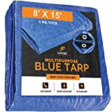 Xpose Safety Better Blue Poly Tarp 8' x 15' - Multipurpose Protective Cover - Lightweight, Durable, Waterproof, Weather Proof - 5 Mil Thick Polyethylene