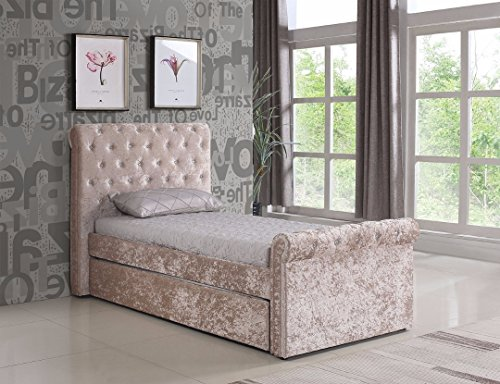 BEDZONLINE 3ft / Single Crushed Velvet Fabric Bed Frame Selina Gold with Trundle