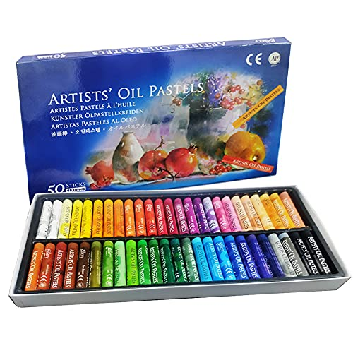 Arts Oil Pastels Set,50 Colors Soft Pastel Pencils for Professional DIY Handmade Graffiti,Non-toxic Oil Pastels Crayons for Kids,Student and Beginner Painter