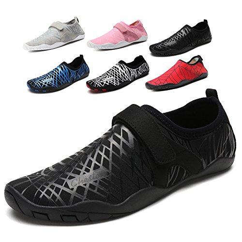 Cheston Mens Barefoot Quick Dry Aqua Water Shoe(16 Women / 14 Men, All-Black)