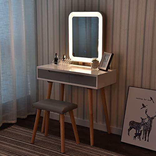 eklipt - Tocador de Maquillaje, Espejo de Mesa de cosméticos Vanity tocador, Mueble de Maquillaje de Dormitorio, con Taburete con Espejo LED, Blanco, 2 cajones, Espejo Rectangular