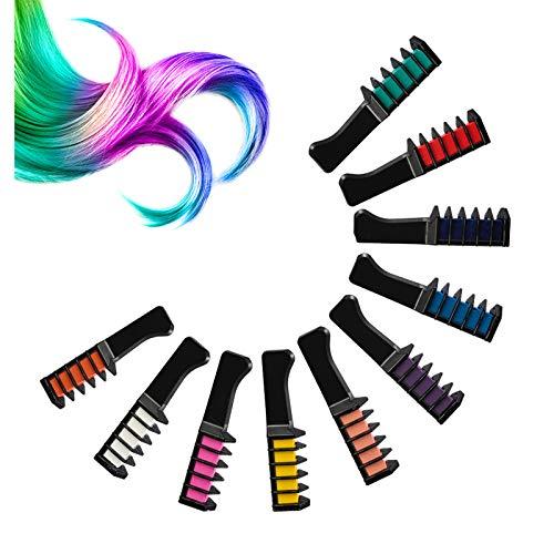 falllea 10 Colores de Peines de Tiza de Colores Temporales de cabello Tinte No Tóxico Lavables Cabello Tiza Set Color de Tiza para Niñas y Niños Pelo teñido, Fiesta, Navidad y Cosplay