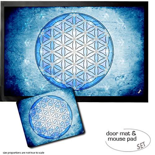 1art1 Mandalas, La Fleur De Vie, L'Élement Eau Paillasson Essuie-Pieds (60x40 cm) + Tapis De Souris (23x19 cm) Set Cadeau