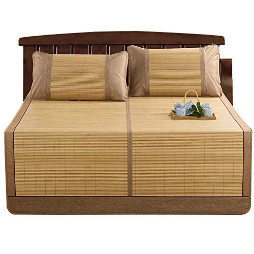 YJFENG Faltbar Sommer-Schlafmatten Bambus Matratzen Strohmatte Glatt Atmungsaktiv Nahtlos Für Doppelseitigen Gebrauch,8 Größen,2 Stile (Farbe : Braun, größe : 1.35x1.95m)