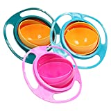 Set of 3 Universal Gyro Bowl Children Rotary Balance Magic Bowl 360 Rotate Spill-Proof Bowl Spill Resistant Gyro Bowl with Lid (Green, Blue, Pink)