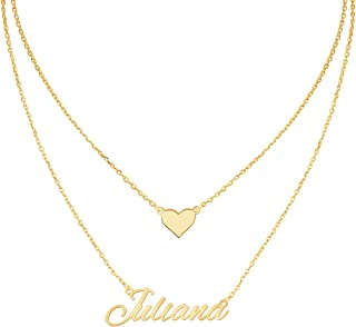 MeMoShe Layered Choker Name Necklace Personalized with Heart, Custom Nameplate Pendant 18K Gold Plated