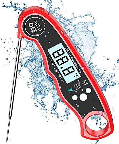 Cocoda Termometro Cucina con Schermo LCD Digitale, 2S Lettura Immediata Antiscottatura Termometro Barbecue, IPX6 Impermeabile & Pieghevole, per Forno, Cucina, Carne, BBQ, Latte, Alimenti, Cottura