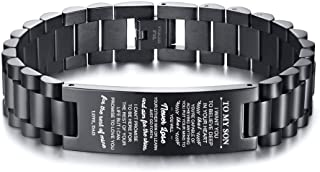 MEALGUET Stainless Steel to My Son Bracelet I Want You to Believe Deep in Your Heart Love Dad Son Link Bracelets to My Son, 8.2""