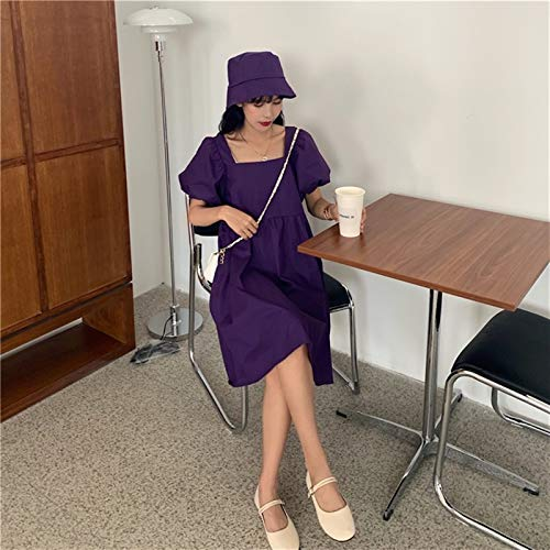 YUNCHENG Vestido de Manga de Soplo Femenino Verano 2021 francés Cuello Cuadrado Diseño de diseño Sense Falda Azul Muñeca pequeña Falda (Color : Purple, Size : One Size)